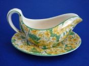 Crown Ducal 'Primula' Chintz Mint Sauce Boat and Stand c1930